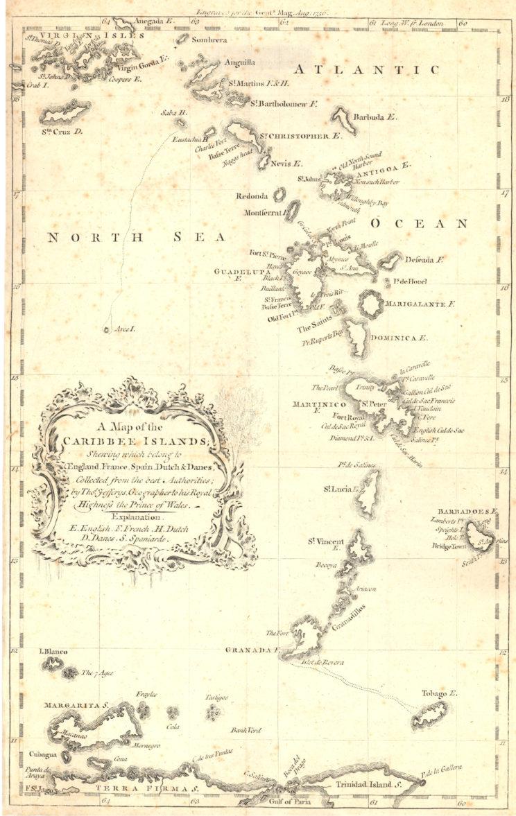 Jefferys' map of the Caribbee Isles